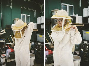 Me getting my bee keeping suit on. Photo by: McKinley Co.