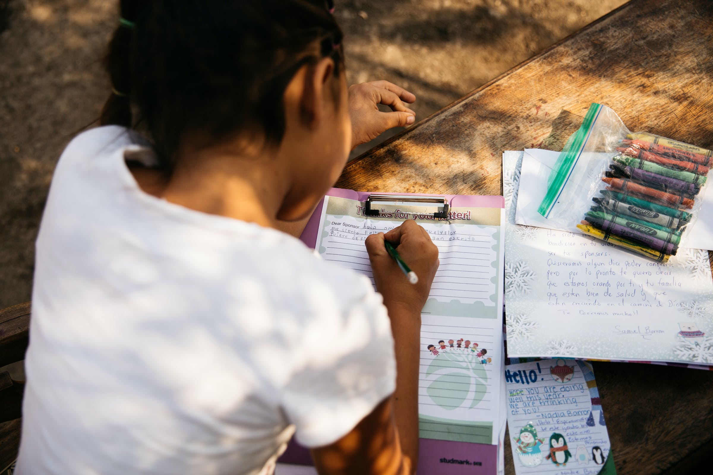 Sponsored child in Nicaragua writes a letter to her sponsor.