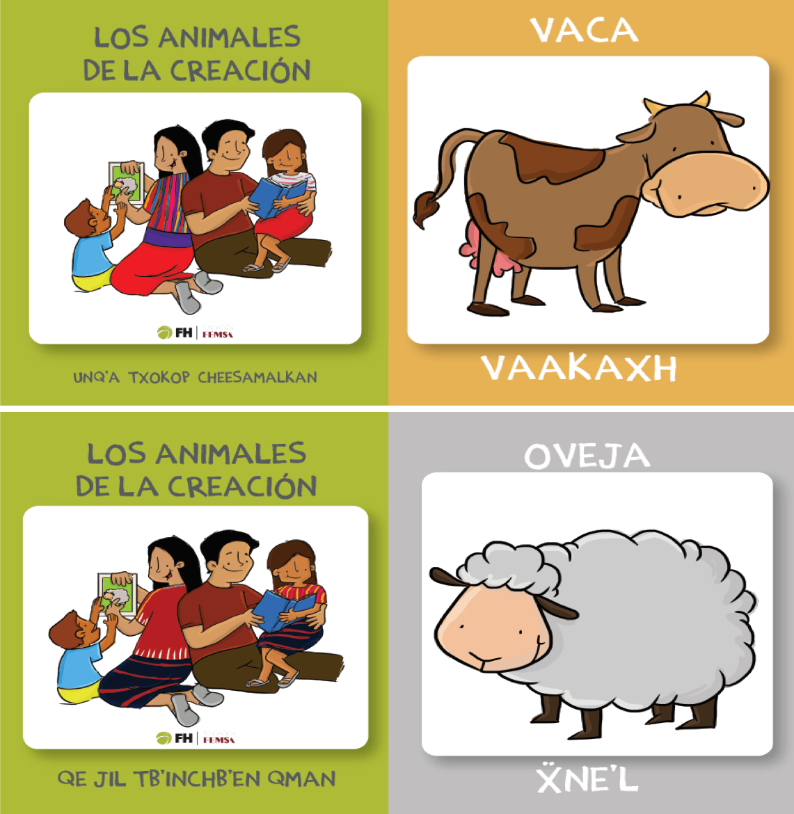 Educational flashcards showing a cow and sheep in Ixil and Mam, indigenous languages in Guatemala