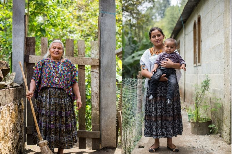 Guatemalan grandma stands next to mother leaders that she has trained