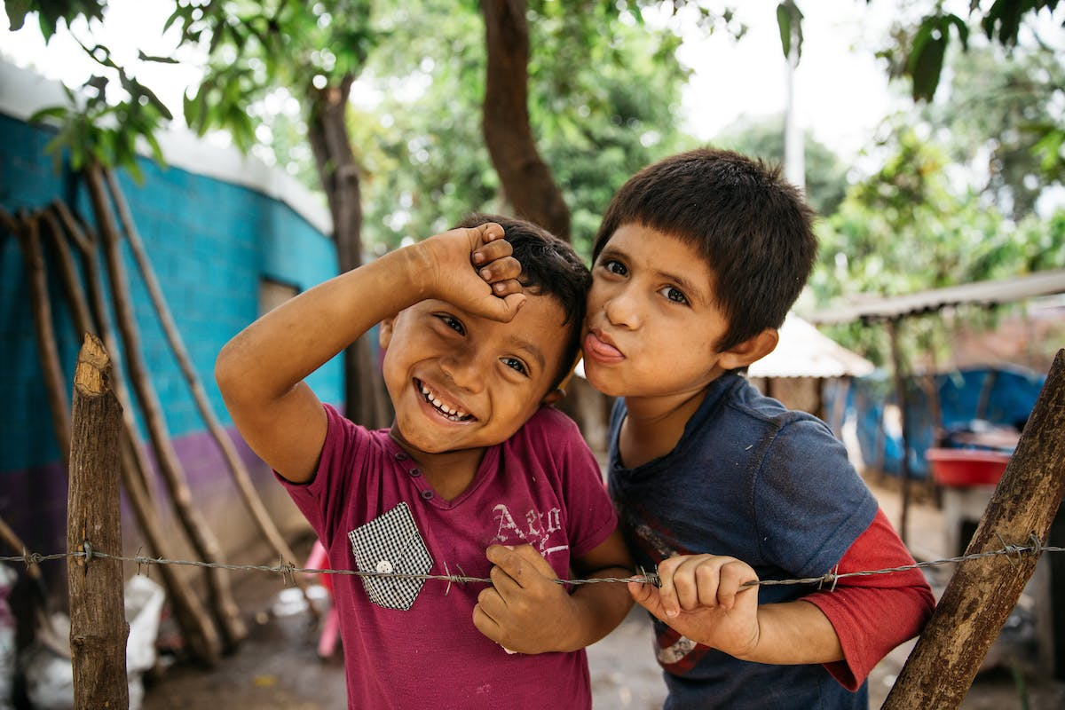 Two children in Nicaragua make funny faces
