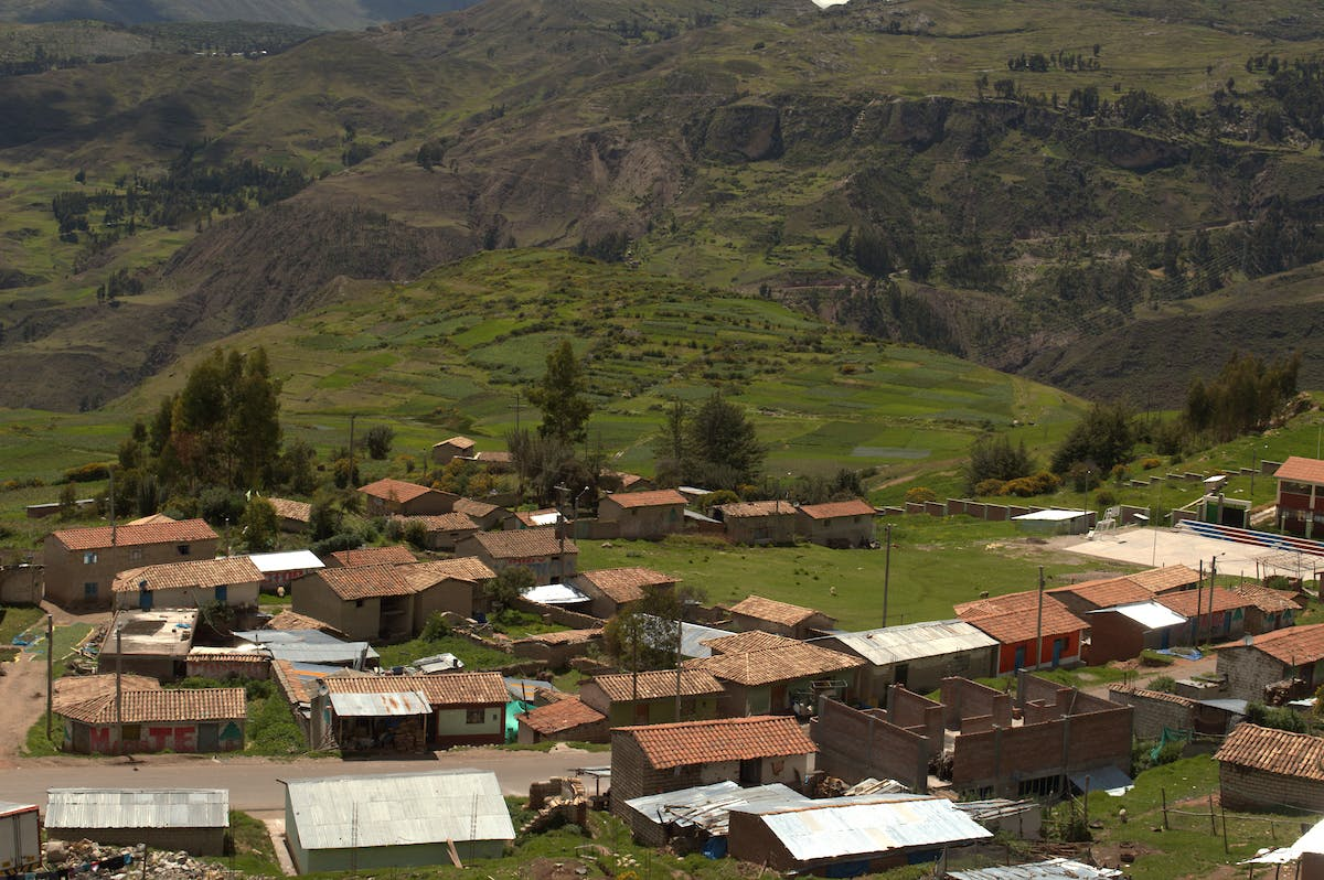 Landscape shot of Huancavelica Peru in the Andes mountains sierra
