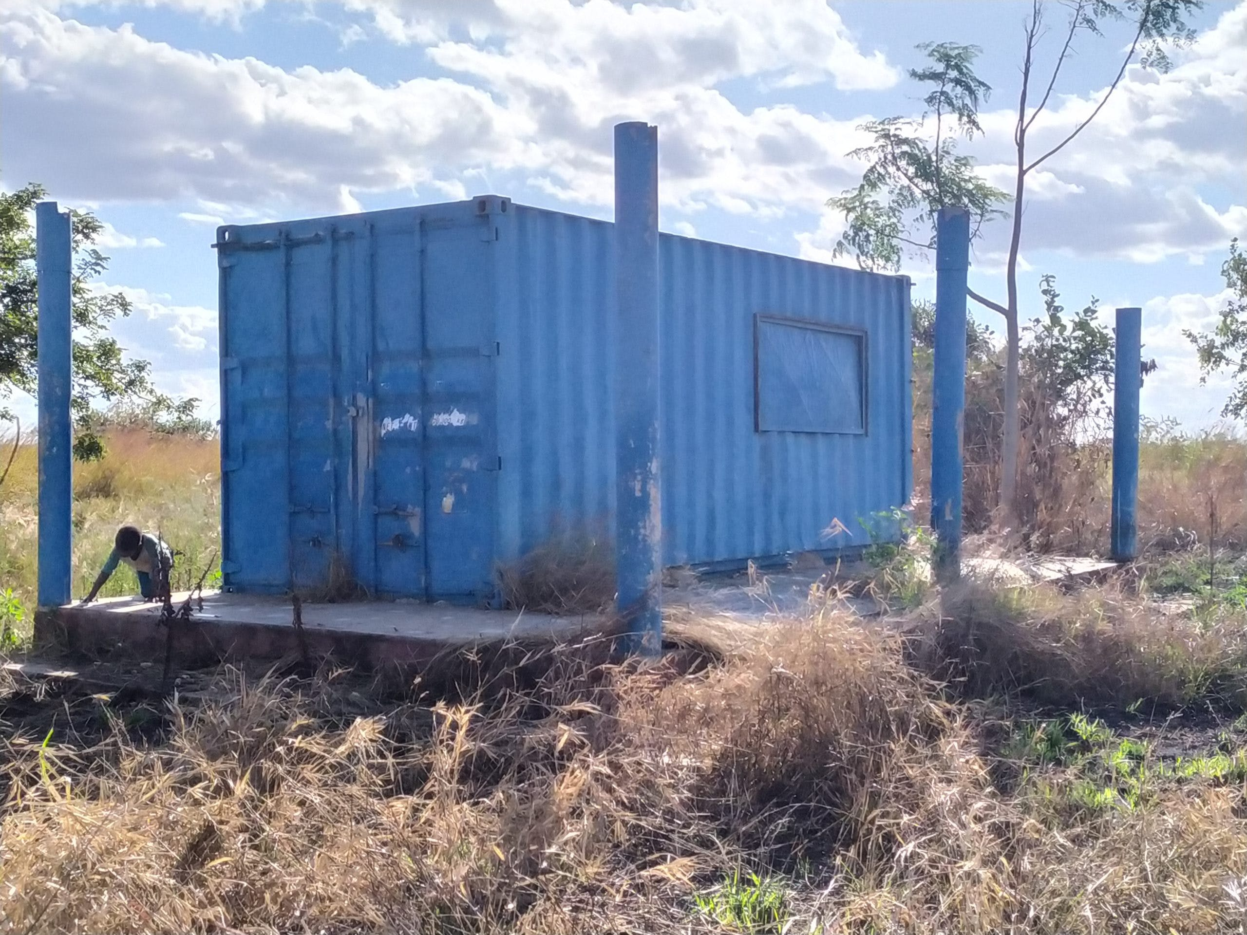 The 40-foot container Rosita and other families lived in after the cyclone destroyed homes.