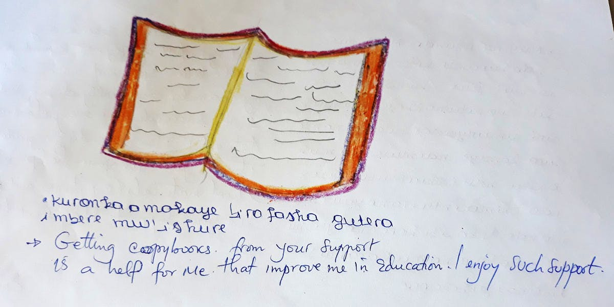 A drawing of a book provided to a sponsor child.