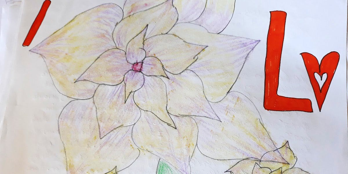 A flower drawn by a child for their sponsor.