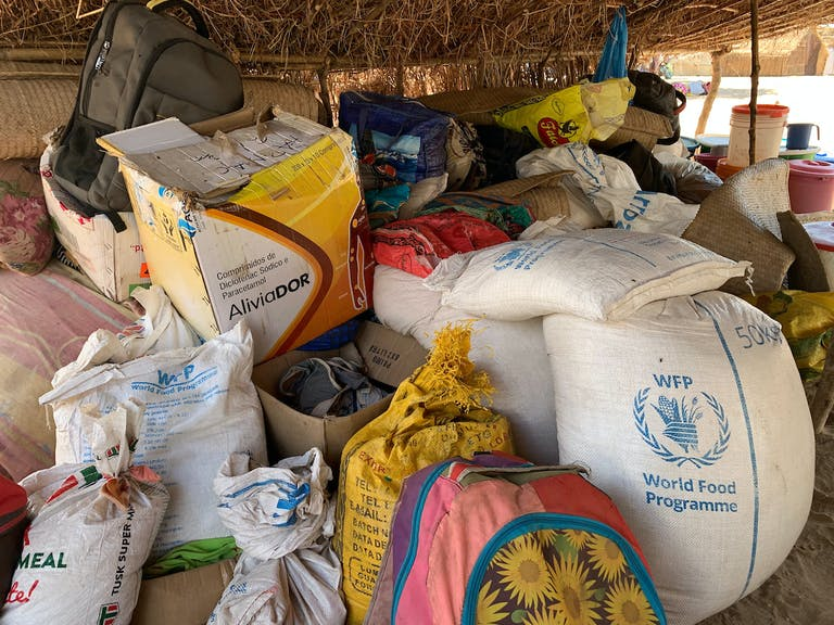 flour sacks and other foods awaiting distribution